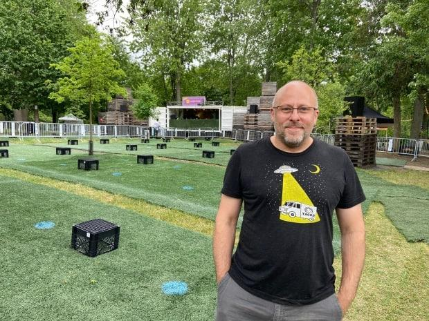 Nicolas Cournoyer, co-organizer for Montreal's bi-weekly summer electronic music festival Piknic Électronik, says he will adapt every week if he has to in order to keep the festival running.  (Rowan Kennedy/CBC - image credit)