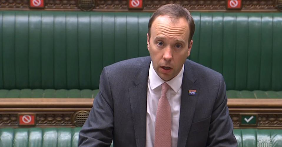 Health Secretary Matt Hancock delivers a statement on the government's actions on coronavirus in the House of Commons, London.