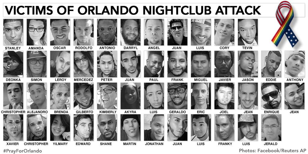 <p>All 49 victims killed in a mass shooting at the Pulse nightclub in Orlando, Fla., on June 12, 2016. (Photo combination: Yahoo News, Photos: Reuters/AP, Facebook) </p>