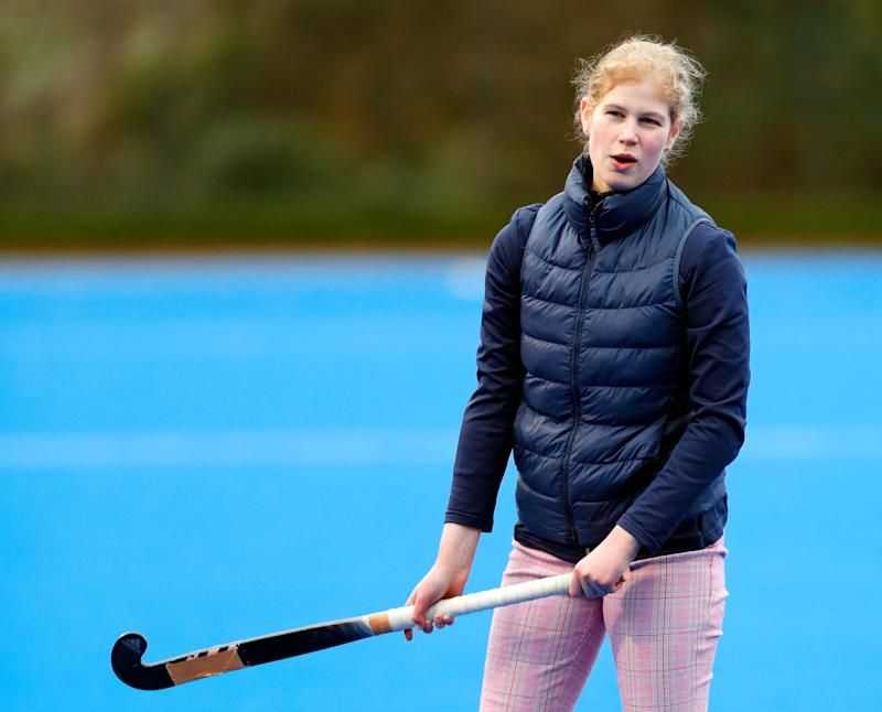 MARLOW, UNITED KINGDOM - JANUARY 07: (EMBARGOED FOR PUBLICATION IN UK NEWSPAPERS UNTIL 24 HOURS AFTER CREATE DATE AND TIME) Lady Louise Windsor plays hockey as she attends an England Hockey team training session at Bisham Abbey National Sports Centre on January 7, 2020 in Marlow, England. (Photo by Max Mumby/Indigo/Getty Images)