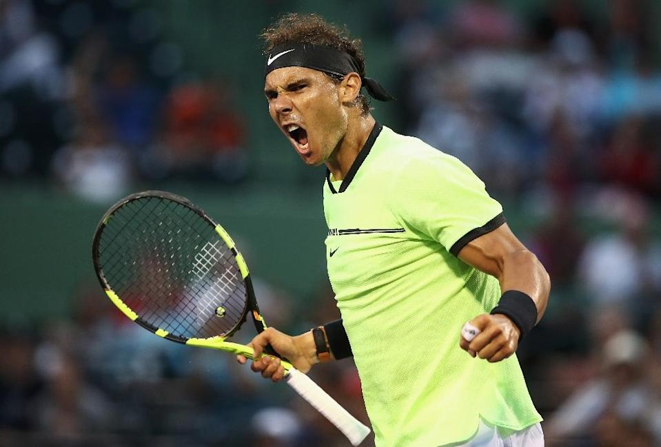 Rafael Nadal of Spain celebrates defeating Philipp Kohlschreiber of Germany, at Miami Open, on March 26, 2017 (AFP Photo/Julian Finney)