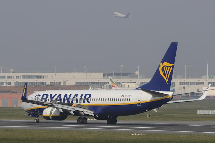 BRUSSELS, April 19, 2021 -- A Ryanair flight front lands while a Brussels airlines flight takes off at the Brussels Airport in Zaventem, Belgium, April 19, 2021. Belgium on Monday ended its ban on non-essential travel within the European Union EU. (Photo by Zheng Huansong/Xinhua via Getty) (Xinhua/Zheng Huansong via Getty Images)
