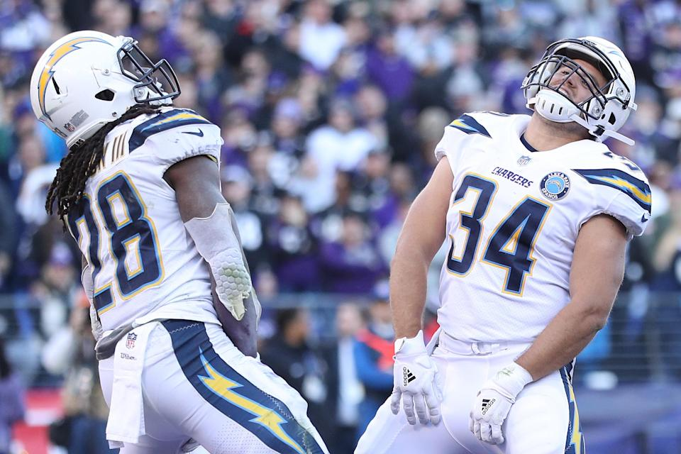The Chargers celebrated on the field and on social media after beating the Ravens Sunday. (Getty)
