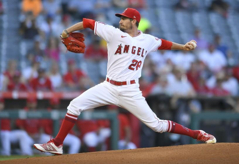Los Angeles Angels starting pitcher Andrew Heaney throws during the first inning of a baseball game against the Colorado Rockies Wednesday, July 28, 2021, in Anaheim, Calif. (AP Photo/John McCoy)