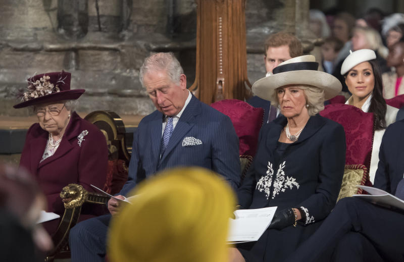 Queen Elizabeth II, Prince Charles, Camilla, Duchess of Cornwall, Prince Harry and Meghan Markle attend the Commonwealth Service at Westminster Abbey on March 12. (WPA Pool via Getty Images)