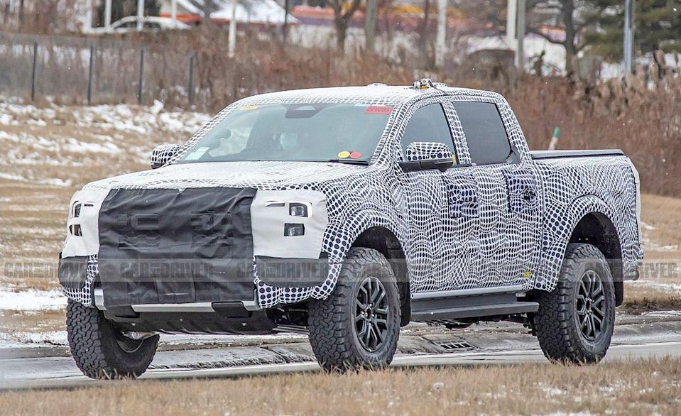 "<p>Sold elsewhere, the <a href=""https://www.caranddriver.com/ford/ranger-raptor"" rel=""nofollow noopener"" target=""_blank"" data-ylk=""slk:Ford Ranger Raptor"" class=""link rapid-noclick-resp"">Ford Ranger Raptor</a> is takes the already off-road capability in the Ford Ranger up a few notches. We suspect this wilder version to come with the 310-hp 2.7-liter twin-turbocharged V-6 already sold in the 2021 Ford Bronco. Although the Ranger Raptor is still undergoing testing, we expect more information later this year, or for early 2022.</p>"