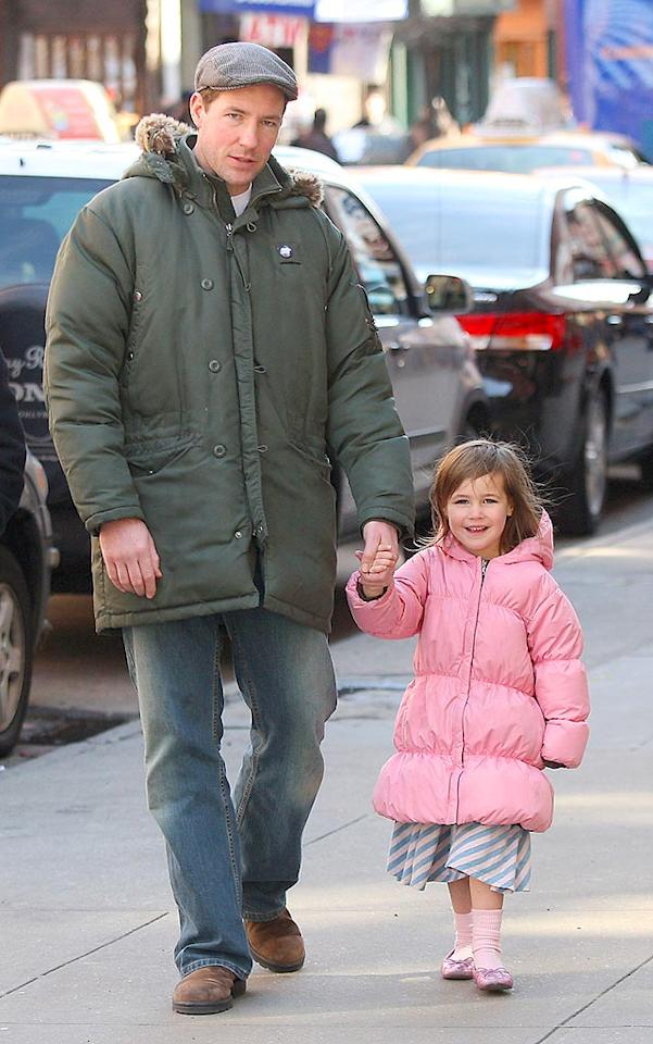 "Ed Burns usually plays tough guys on screen, but he's a softie around daughter Grace. Lawrence Schwartzwald/<a href=""http://www.splashnewsonline.com/"" target=""new"">Splash News</a> - March 30, 2008"
