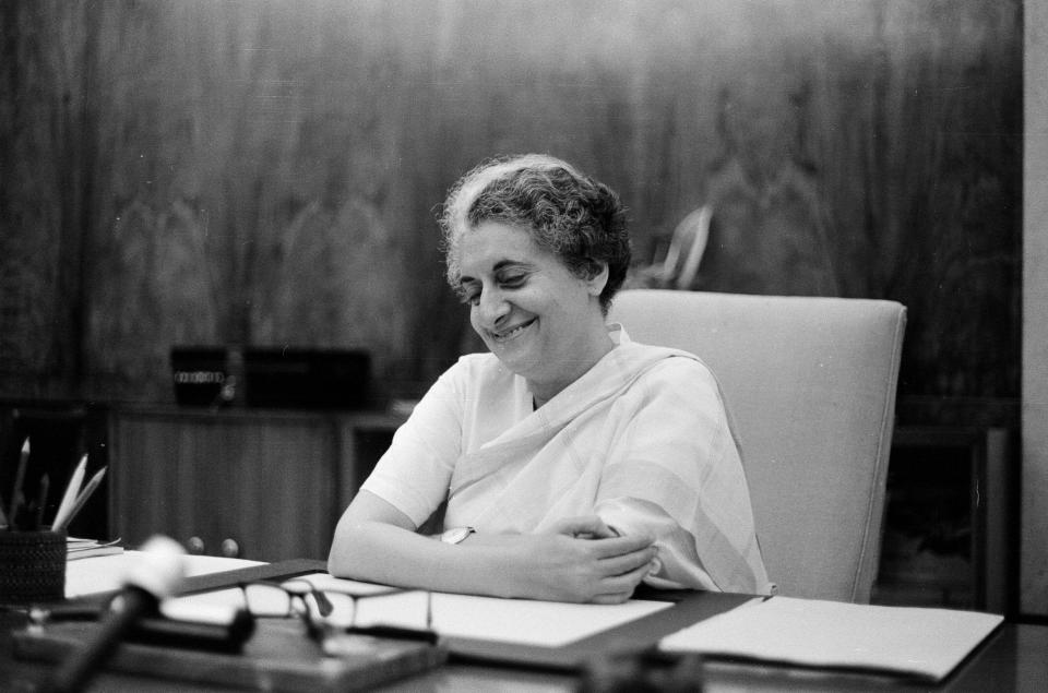 Indira Priyadarshini Gandhi was one of free India's most charismatic leaders. India's first and till date only female prime minister, Indira Gandhi was the daughter of Jawaharlal Nehru. Among her pathbreaking policies were the the abolition of privy purse to former rulers of the princely states and the nationalisation of the 14 largest banks in India in 1969. <em>Indira Gandhi, Prime Minister of India, photographed in her office in the Indian Parliament in New Delhi. 4th July 1971. (Photo by Eric Piper/Mirrorpix/Getty Images)</em>
