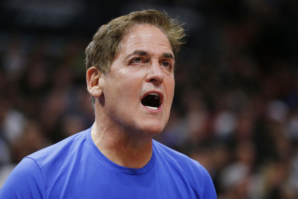 Dallas Mavericks owner Mark Cuban received another hefty fine from the NBA. (Michael Reaves/Getty Images)