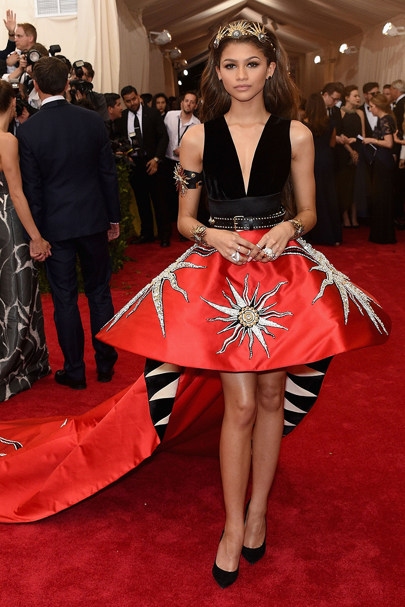 """<p>Zendaya wore this bold Fausto Puglisi mini dress for her first-ever <a href=""""https://www.cosmopolitan.com/uk/fashion/celebrity/news/g4039/met-gala-2015-outfits-dresses-red-carpet-photos/"""" rel=""""nofollow noopener"""" target=""""_blank"""" data-ylk=""""slk:Met Gala in 2015"""" class=""""link rapid-noclick-resp"""">Met Gala in 2015</a>.</p>"""