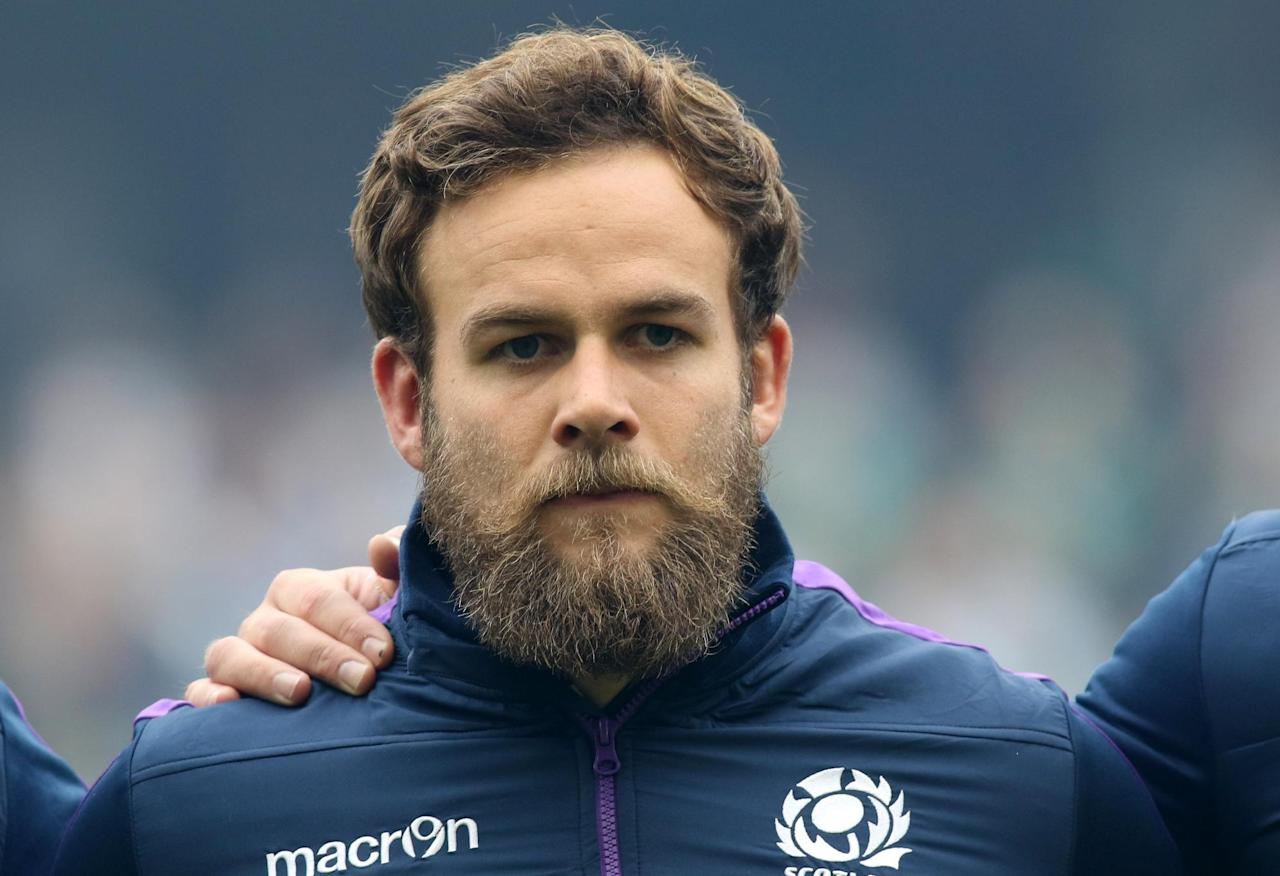 Scotland's Ruaridh Jackson lines up ahead of the 2015 Rugby World Cup warm up match between and Ireland and Scotland at Aviva Stadium in Dublin, Ireland on August 15, 2015. AFP PHOTO / PAUL FAITH (AFP Photo/PAUL FAITH)