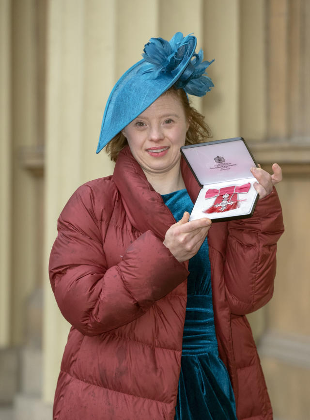 <em>In November, Sarah Gordy made history as the first woman with Down's syndrome to be awarded an MBE (Picture: PA)</em>