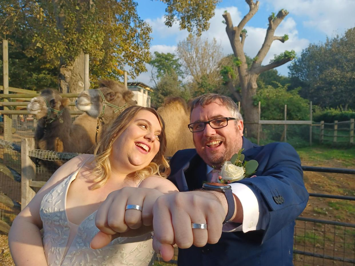 Matt Robbins (right), 39, and Alison Russell, 36, from Romford, Essex got married at London Zoo with a pair of special rings