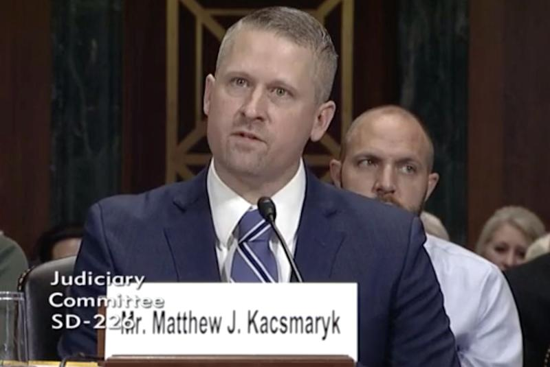 Matthew Kacsmaryk, 42, has a record of being incredibly hostile to LGBTQ and abortion rights. He's a lifetime federal judge now. (Photo: CSPAN)