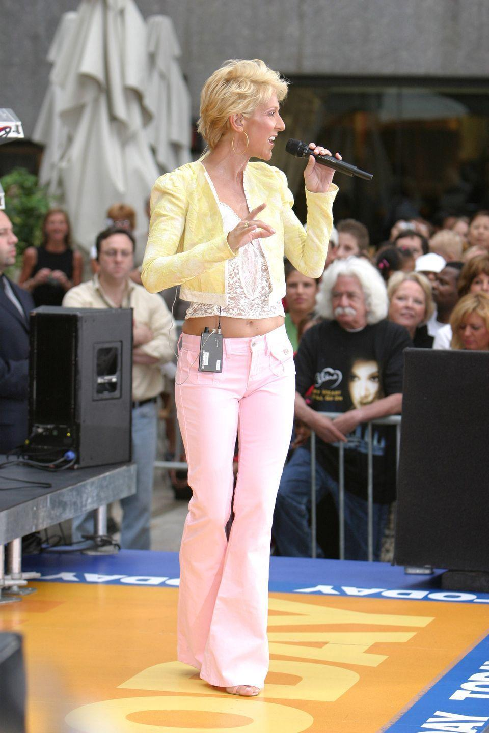 <p>The singer performed on <em>The Today Show</em> wearing pink low-rise flare jeans (remember those?), a lace crop top, and a pastel yellow crop jacket. And we can't forget about the gold hoops!</p>