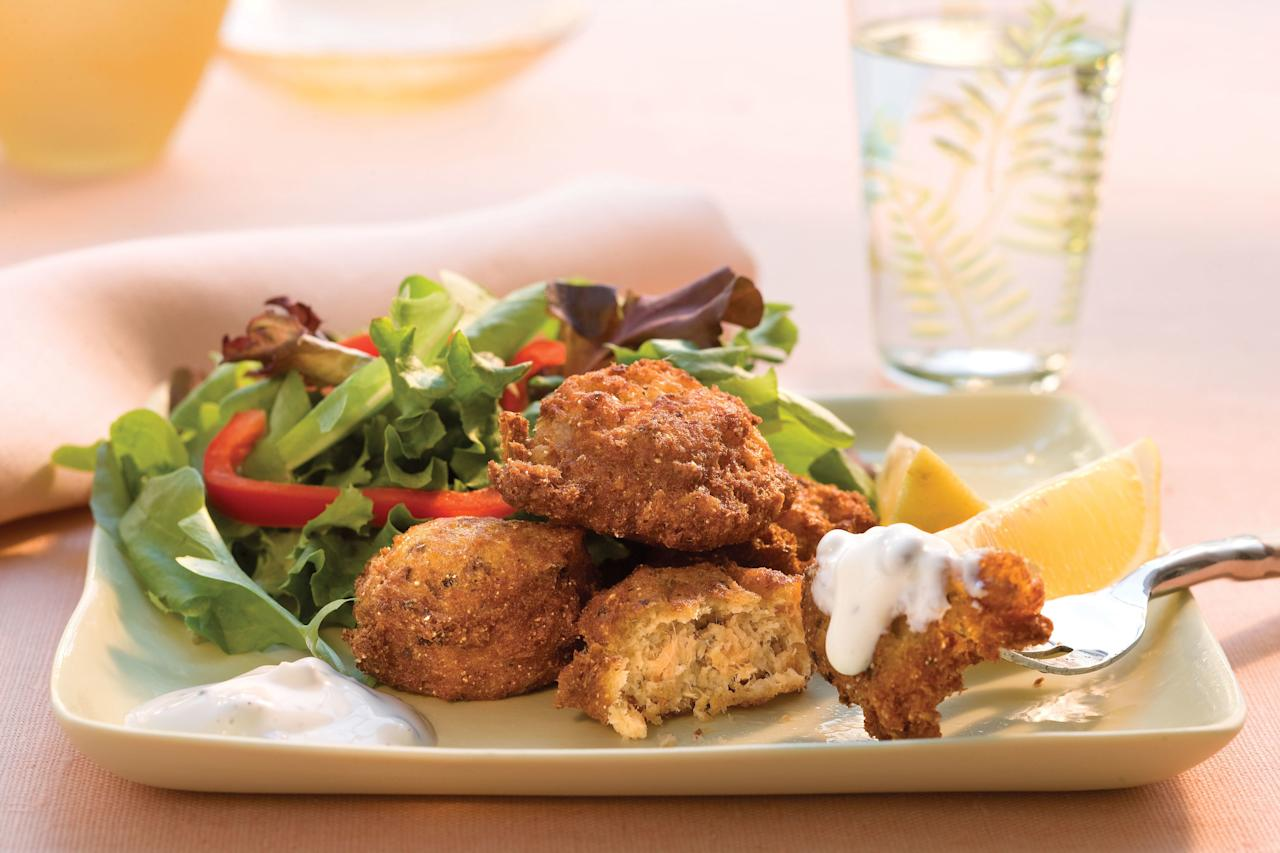 """<p><strong>Recipes: <a href=""""https://www.southernliving.com/recipes/salmon-croquettes"""" target=""""_blank"""">Simple Salmon Croquettes</a></strong></p> <p>These salmon croquettes are oh-so-easy to whip up for a sophisticated weeknight dinner. Drizzle with lemon-caper cream for an all-star pairing.</p>"""