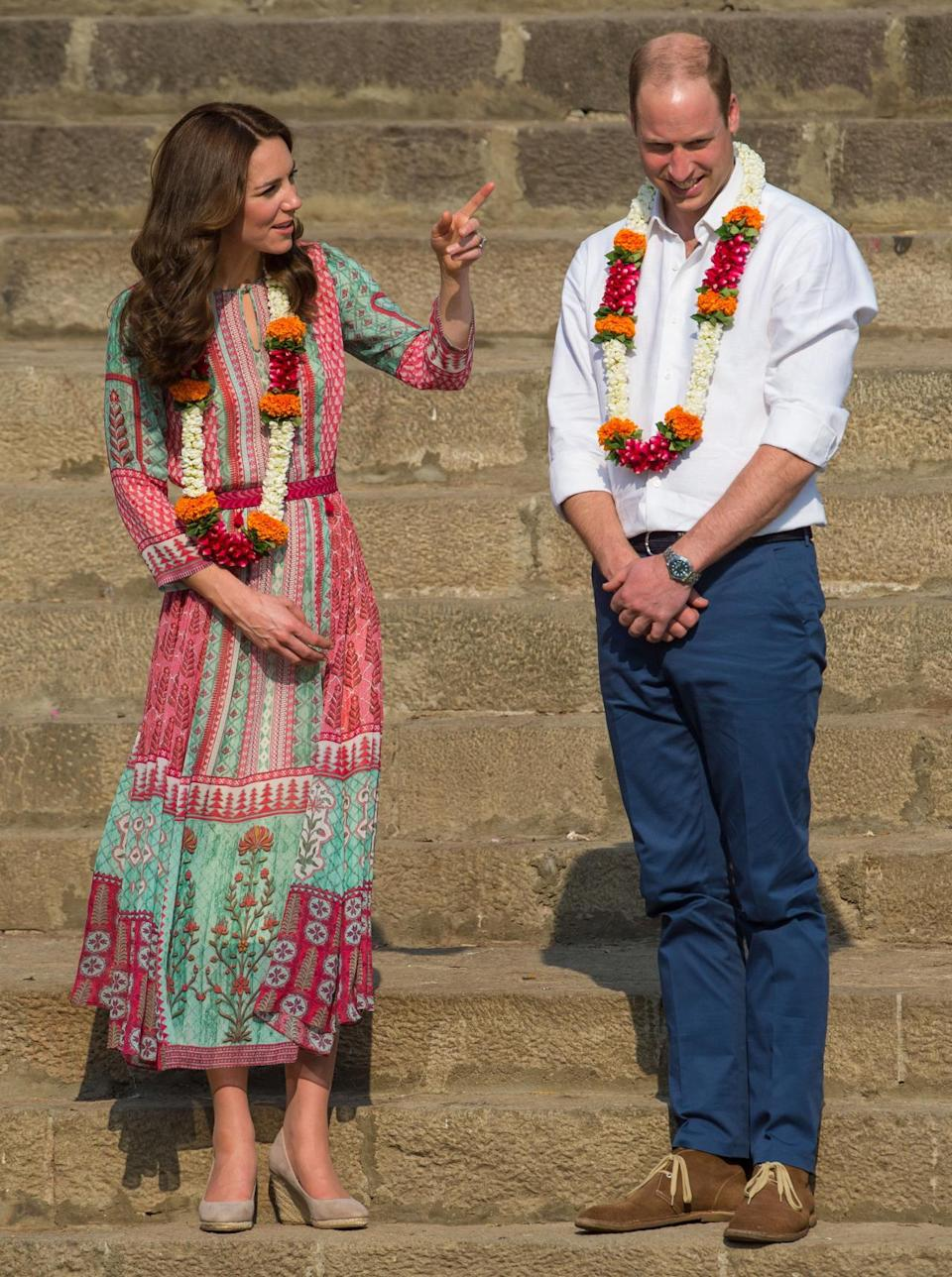 <p>On the first day of the royal tour to India, Kate opted for a printed dress by one of India's most renowned designers, Anita Dongre. She teamed the look with Monsoon wedges and £8 earrings from Accessorize.</p><p><i>[Photo: PA]</i></p>