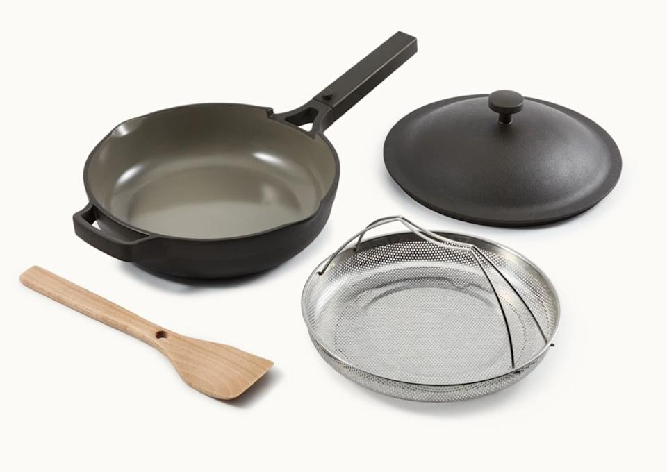 "You probably heard of <a href=""https://fave.co/3dZAqXF"" target=""_blank"" rel=""noopener noreferrer"">this do-everything pan</a> or spotted it on your Instagram. Aptly dubbed the ""Always Pan,"" it replaces your frying pan, saute pan, steamer, skillet, saucier, sauce pan, nonstick pan, skillet and spoon rest. This mighty pan <a href=""https://fave.co/3dZAqXF"" target=""_blank"" rel=""noopener noreferrer"">does the work of eight pieces of cookware</a>. <a href=""https://fave.co/2RctCLt"" target=""_blank"" rel=""noopener noreferrer"">Get it for $145 from Our Place</a>"