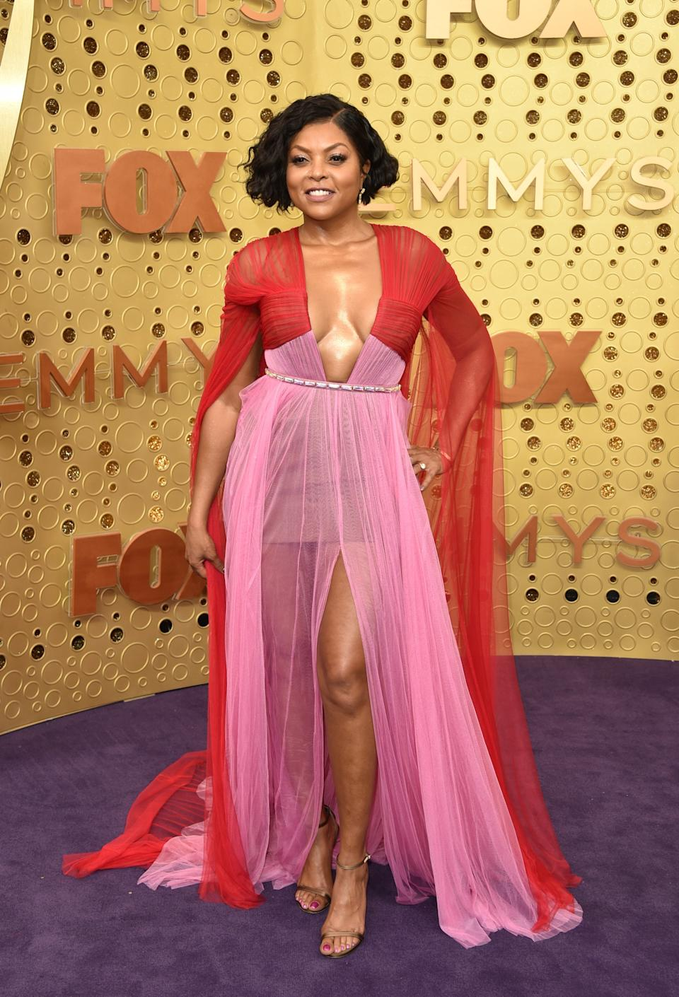 """<h1 class=""""title"""">Taraji P. Henson in custom Vera Wang Collection and Jimmy Choo shoes</h1><cite class=""""credit"""">Photo: Getty Images</cite>"""