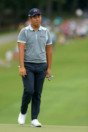 South Korea's An Byeong-hun reacts after a putt attempt at 18 in the final round of the Wyndham Championship, where he finished third