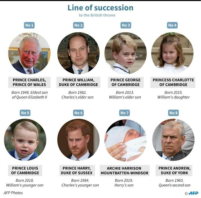 The British royal line of succession (AFP Photo/)