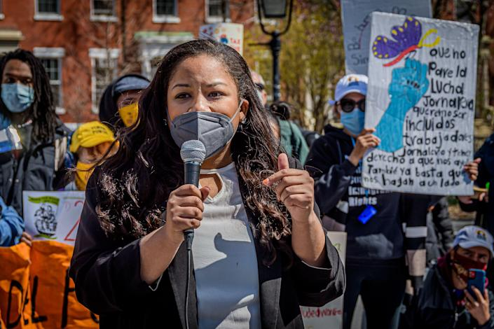 """New York Assemblywoman Amanda Septimo (D) speaks at a news conference for the """"excluded workers"""" fund in Manhattan. The fund was one of several major progressive victories. (Photo: Erik McGregor/Getty Images)"""