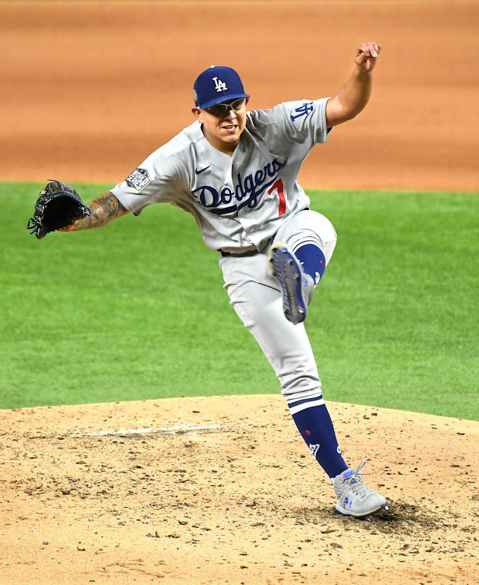 Dodgers pitcher Julio Urías delivers during the fourth inning.