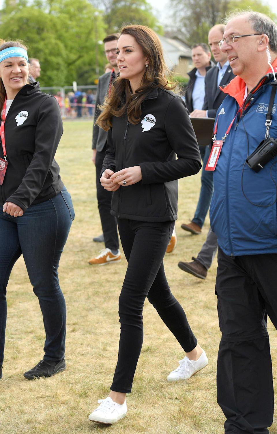 """<p><strong>When:</strong> April 23, 2017 <strong>Where:</strong> 2017 London Marathon <strong>Wearing:</strong> M.i.h. Drew top and Superga 2750 Cotu Classic sneakers <strong>Get the Look:</strong> Everlane The Heavyweight Tee, $45; <a href=""""http://www.gopjn.com/t/8-9711-131940-104709?sid=POROYALSKateSpringStyleMM&url=https%3A%2F%2Fwww.everlane.com%2Fproducts%2Fwomens-boatneck-tee-white-navy%3Fcollection%3Dwomens-tees"""" rel=""""nofollow noopener"""" target=""""_blank"""" data-ylk=""""slk:everlane.com"""" class=""""link rapid-noclick-resp"""">everlane.com</a> Daisy Street Relaxed Long Sleeve T-Shirt, $21; <a href=""""https://click.linksynergy.com/fs-bin/click?id=93xLBvPhAeE&subid=0&offerid=460292.1&type=10&tmpid=20904&RD_PARM1=http%3A%2F%2Fus.asos.com%2Fdaisy-street%2Fdaisy-street-relaxed-long-sleeve-t-shirt-in-breton-stripe%2Fprd%2F9543995%3Fclr%3Dnavyandwhite%2526SearchQuery%3Dbreton%2520top%2526gridcolumn%3D1%2526gridrow%3D2%2526gridsize%3D4%2526pge%3D1%2526pgesize%3D72%2526totalstyles%3D13&u1=POROYALSKateSpringStyleMM"""" rel=""""nofollow noopener"""" target=""""_blank"""" data-ylk=""""slk:asos.com"""" class=""""link rapid-noclick-resp"""">asos.com</a> Superga 2750 Cotu Classic Sneaker, $65 - $99; <a href=""""https://click.linksynergy.com/fs-bin/click?id=93xLBvPhAeE&subid=0&offerid=390098.1&type=10&tmpid=8156&RD_PARM1=https%253A%252F%252Fshop.nordstrom.com%252Fs%252Fsuperga-cotu-sneaker-women%252F3284914%253Fcm_mmc%253Dgoogle-_-productads-_-Women%25253AShoes%25253ASneaker-_-540107%2526rkg_id%253Dh-0b41d5d9369633e4b8a78902d5c7e0b0_t-1492995615%2526adpos%253D1o3%2526creative%253D145503081290%2526device%253Dc%2526network%253Dg%2526gclid%253DCK_enoryu9MCFVlWDQodFa0Bug&u1=POROYALSCopyKateMM"""" rel=""""nofollow noopener"""" target=""""_blank"""" data-ylk=""""slk:nordstrom.com"""" class=""""link rapid-noclick-resp"""">nordstrom.com</a></p>"""