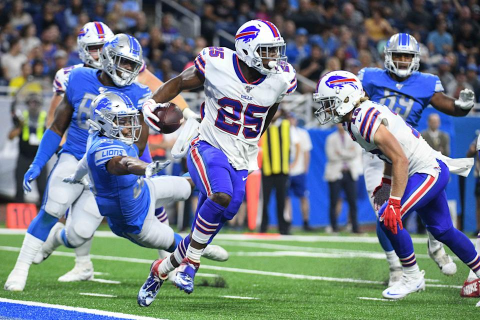 Aug 23, 2019; Detroit, MI, USA; Buffalo Bills running back LeSean McCoy (25) runs the ball during the second quarter against the Detroit Lions at Ford Field. Mandatory Credit: Tim Fuller-USA TODAY Sports