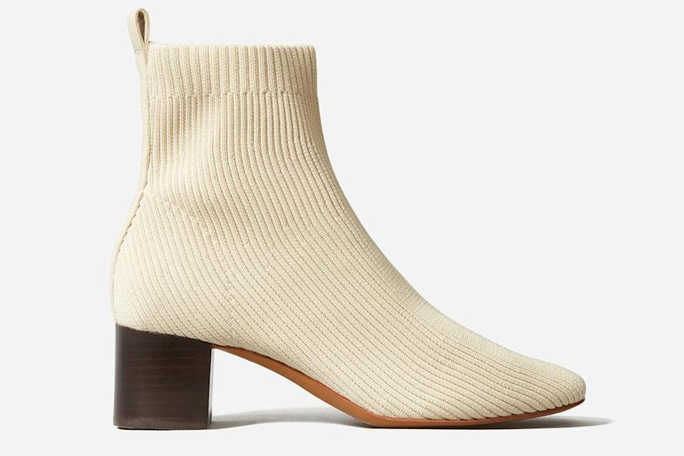 nude boots, sock boots, booties, everlane