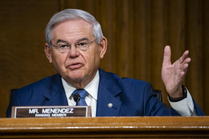 WASHINGTON, DC - JULY 30: Sen. Bob Menendez (D-NJ) questions U.S. Secretary of State Mike Pompeo during a Senate Foreign Relations committee hearing on the State Department's 2021 budget in the Dirksen Senate Office Building on July 30, 2020 in Washington, DC. (Photo by Jim Lo Scalzo-Pool/Getty Images)