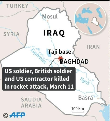Map locating the army base at Taji in Iraq where two Americans and one British national were killed in a rocket attack on Wednesday