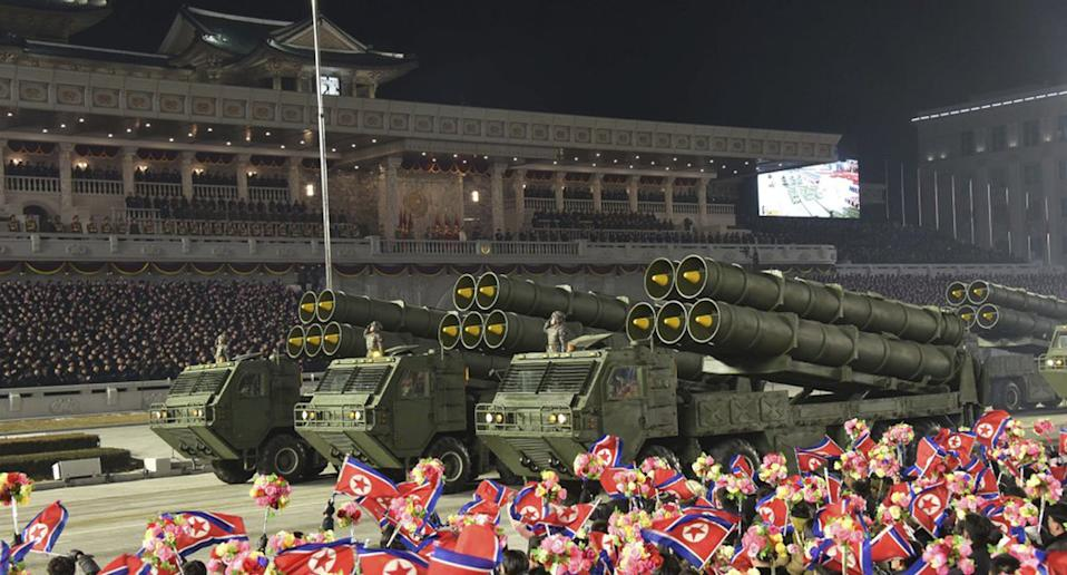 A number of trucks carrying what is believed to be new short-range ballistic missiles