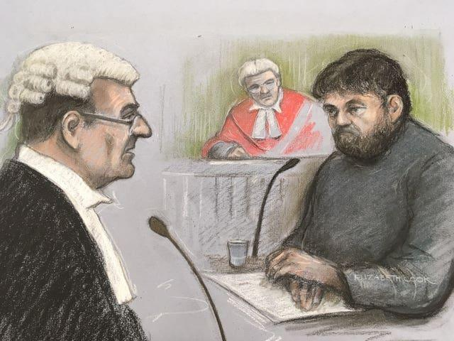 Court artist sketch of Carl Beech at Newcastle Crown Court