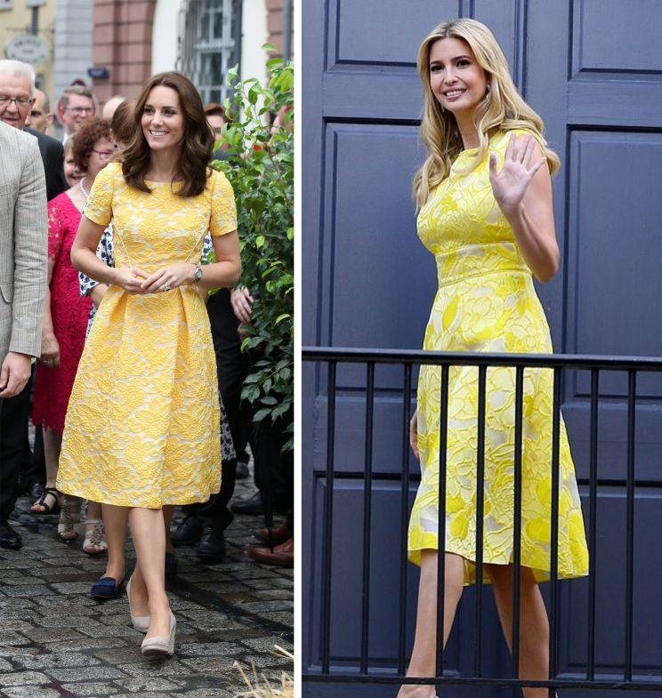 Kate Middleton's yellow Jenny Packham dress was pretty similar to one worn by Ivanka Trump two days ago.