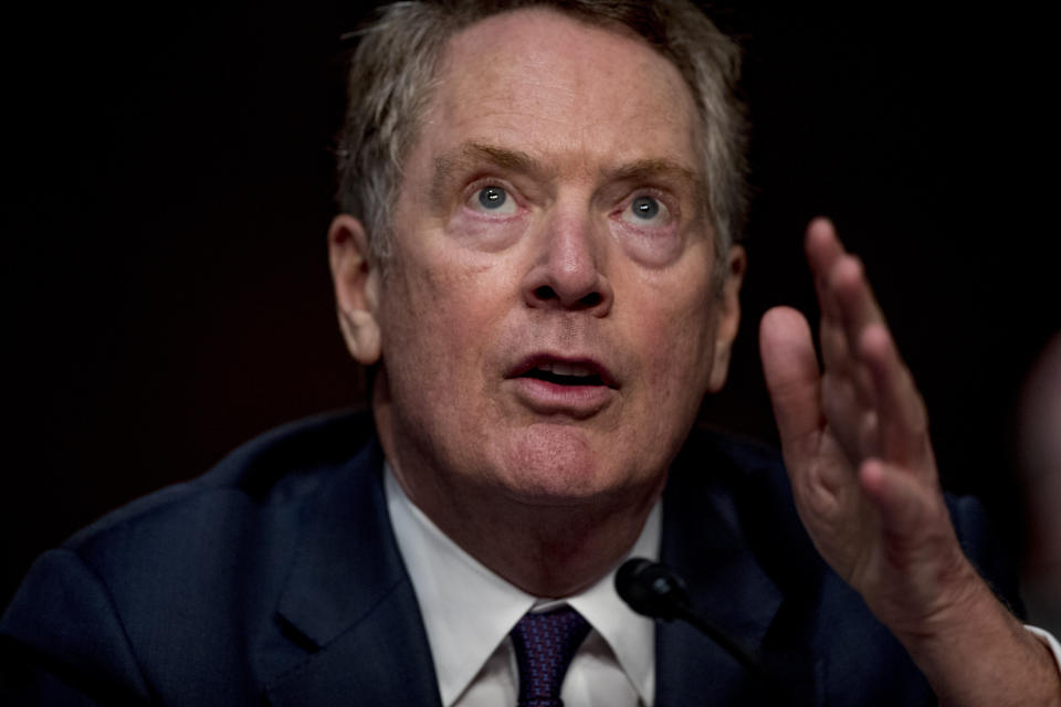 U.S. Trade Representative Robert Lighthizer speaks at a Senate Finance Committee hearing on U.S. trade on Capitol Hill, Wednesday, June 17, 2020, in Washington. (AP Photo/Andrew Harnik, Pool)