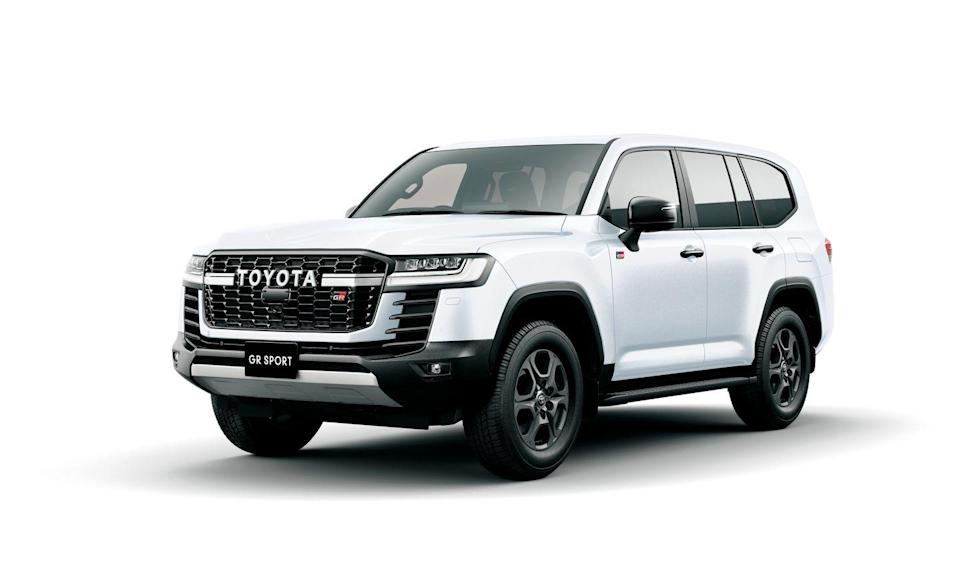 """<p>We'd argue that the new Land Cruiser looks best in its new GR Sport model. Toyota will enter the Dakar Rally starting in 2023 with trucks inspired by this model, which has unique grille and bumper treatments, including """"Toyota"""" script across the grille, black trim, GR Sport badging, and 18-inch wheels. It's equipped with Toyota's new Electronic-Kinetic Dynamic Suspension System, which hydraulically controls the anti-roll bars allowing them to pivot in favor of more wheel articulation, along with front and rear electronically locking differentials. </p>"""