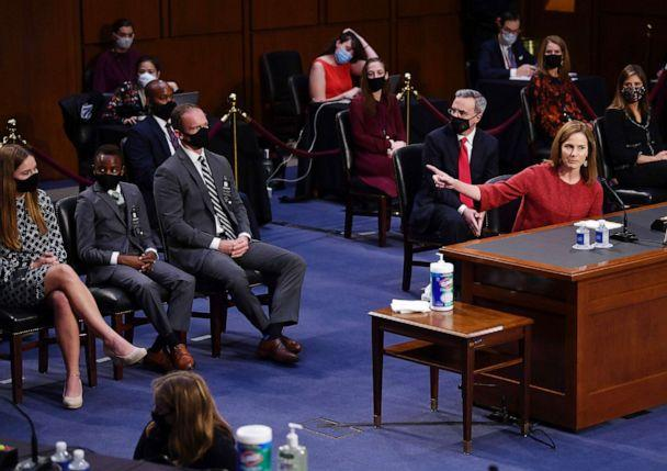 PHOTO: Supreme Court nominee Judge Amy Coney Barrett introduces her family during the second day of her Senate Judiciary committee confirmation hearing on Capitol Hill, Oct. 13, 2020, in Washington, D.C. (Kevin Dietsch/Pool via AFP/Getty Images)
