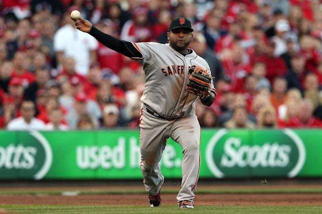 CINCINNATI, OH - OCTOBER 09: Pablo Sandoval #48 of the San Francisco Giants throws out Drew Stubbs #6 of the Cincinnati Reds in the second inning in Game Three of the National League Division Series at the Great American Ball Park on October 9, 2012 in Cincinnati, Ohio. (Photo by Jonathan Daniel/Getty Images)