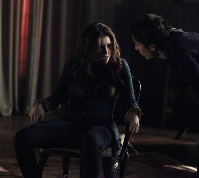 """She's Come Undone"" -- Nina Dobrev as Elena and Ian Somerhalder as Damon"