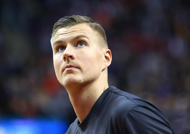 Dallas center Kristaps Porzingis has missed 10 games due to soreness in his right knee. (Vaughn Ridley/Getty Images)