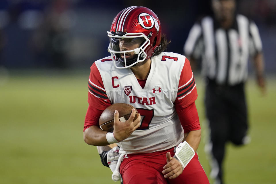 Utah quarterback Cameron Rising (7) runs the ball during the second half of an NCAA college football game against San Diego State Saturday, Sept. 18, 2021, in Carson, Calif. (AP Photo/Ashley Landis)
