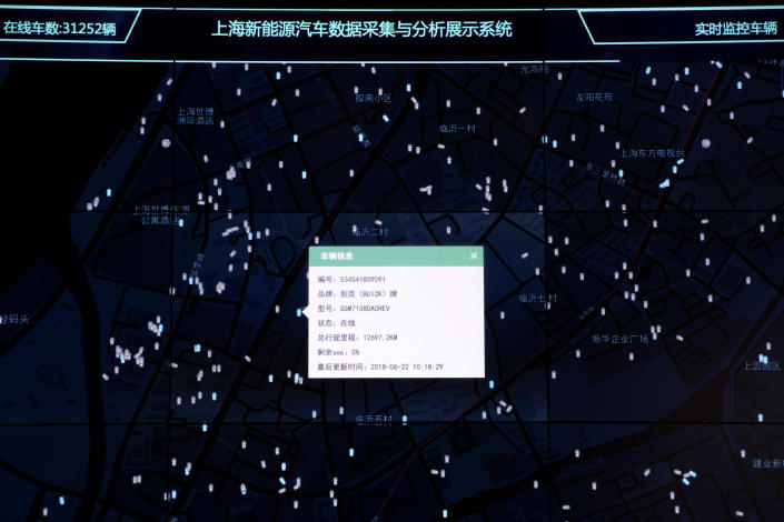 In this Friday, June 22, 2018, photo, a dialog box shows details of a vehicle from amongst thousands tracked and displayed at the Shanghai Electric Vehicle Public Data Collecting, Monitoring and Research Center in Shanghai. According to specifications published in 2016, every electric vehicle in China transmits data from the car's sensors back to the manufacturer. From there, automakers send 61 data points, including location and details about battery and engine function to local centers like this one in Shanghai. (AP Photo/Ng Han Guan)