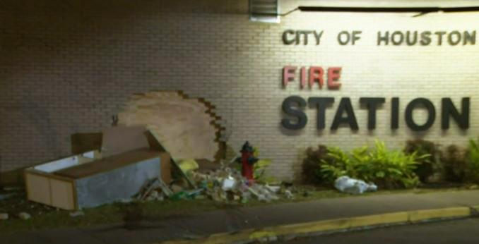 Driver crashes through brick wall of fire station, injuring fireifghter