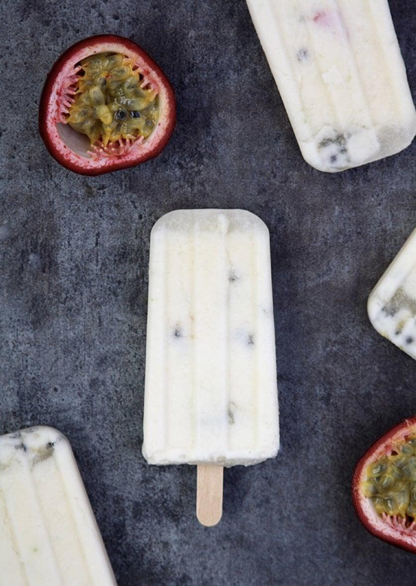 """<p>Dairy-free and vegan, these coconut milk popsicles are as creamy as can be. Just add passion fruit juice, lime zest, and powdered sugar, and you'll be enjoying these ice-cold treats in no time.</p> <p><strong>Get the recipe</strong>: <a href=""""https://www.chocolatemoosey.com/2014/06/05/passion-fruit-and-coconut-milk-pops/"""" class=""""link rapid-noclick-resp"""" rel=""""nofollow noopener"""" target=""""_blank"""" data-ylk=""""slk:passion fruit and coconut milk popsicles"""">passion fruit and coconut milk popsicles</a></p>"""