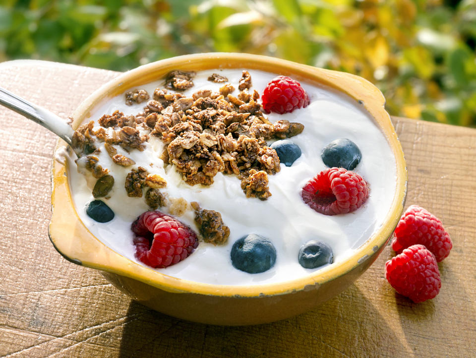 Yogurt gives the body good bacteria that helps keep skin clear and healthy. (Getty Images)