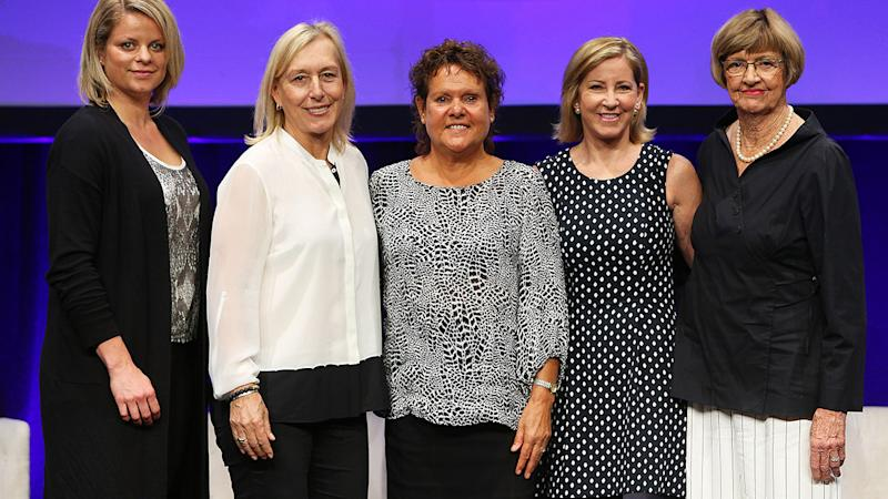 Kim Clijsters, Martina Navratilova, Evonne Goolagong-Cawley, Chris Evert and Margaret Court, pictured here in 2016 at the Australian Open.