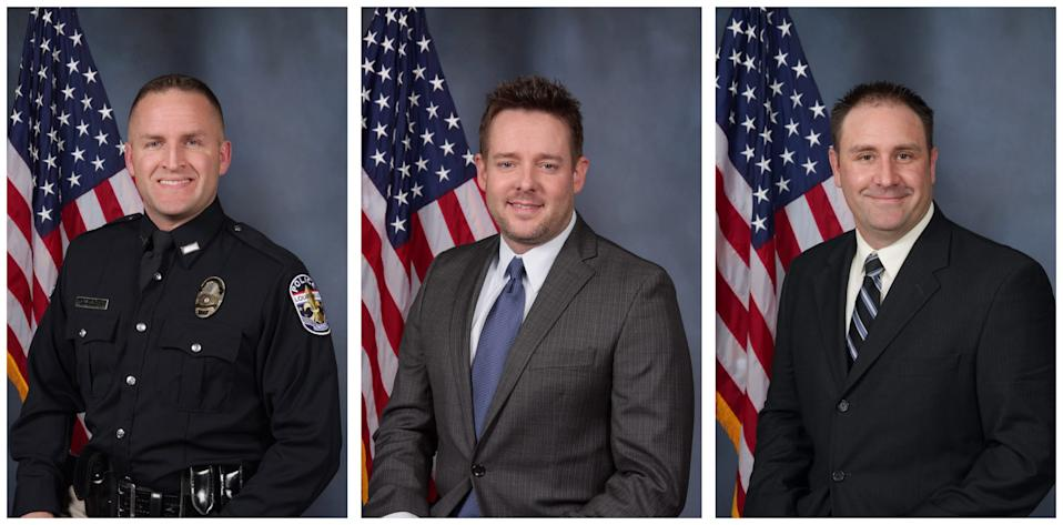 The three Louisville Metro Police Department officers who fired their guns at Breonna Taylor's apartment: Brett Hankison, Jonathan Mattingly and Myles Cosgrove.
