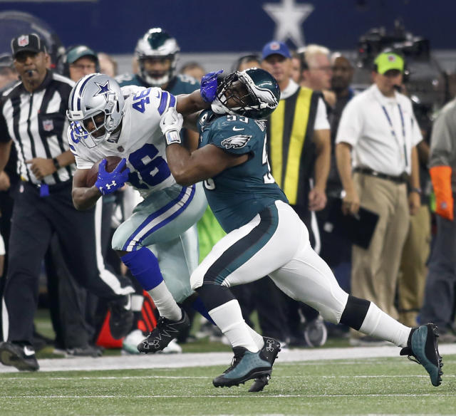 <p>Dallas Cowboys running back Alfred Morris (46) stiff-arms Philadelphia Eagles defensive end Brandon Graham (55) in the first half on Sunday, Nov. 19, 2017 at AT&T Stadium in Arlington, Texas. (Brad Loper/Fort Worth Star-Telegram/TNS) </p>
