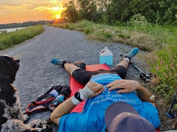It took Kip Arlidge nine days, three hours, 27 minutes to run and hike the entirety of the Bruce Trail, from Tobermory, Ont., to Niagara Falls. He smashed the previous fastest known time by 14 hours. (Submitted by Kip Arlidge - image credit)